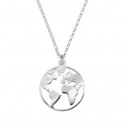 Collar plata bola del mundo