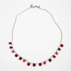 Gargantilla plata y cristal de swarovsky rojo