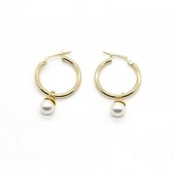 Aro de plata dorada con perla