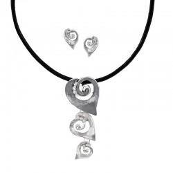 Conjunto plata de corazones